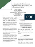 Proyecto de Automatización Transferencia Automática de Transformadores de Reserva en Una Subestación Eléctrica