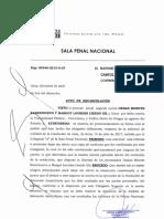 Poder Judicial. Auto de excarcelación de Osman Morote Barrionuevo y Margot Liendo Gil
