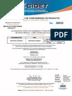 Certificado de Producto Postel s.a.s.  SEDE SINCELEJO SUCRE