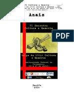 Anais - VI Cultura & Memória UFPE 2013