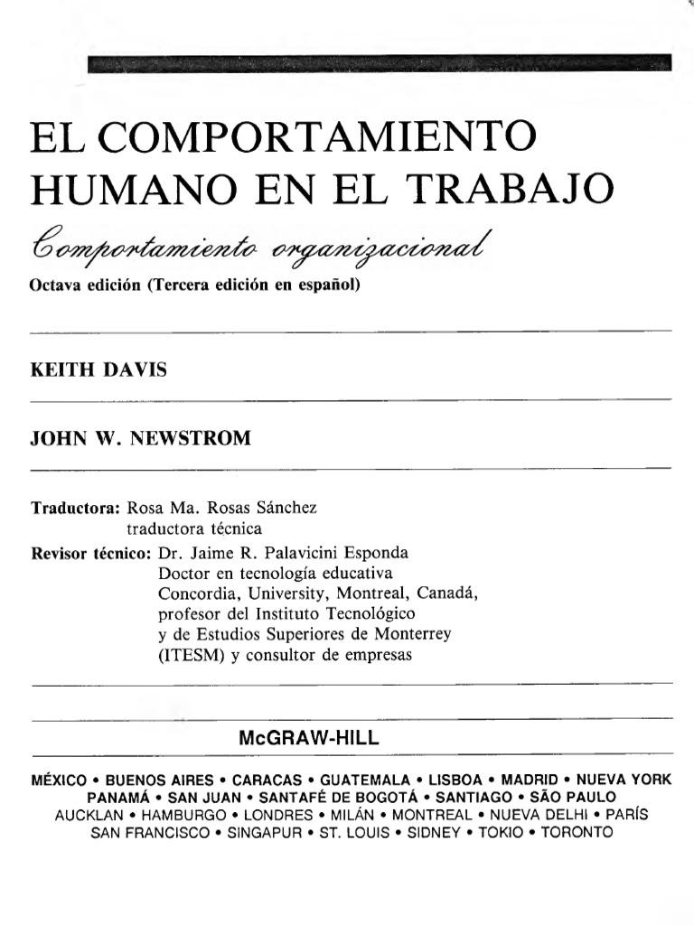 comportamiento humano en el trabajo john w.newstrom pdf