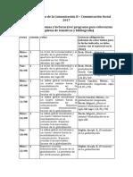 Cronograma de Lecturas Estudiantes CS-II
