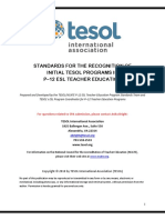 tesol p-12 teacher education standards