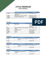 Little Mermaid Tech Schedule