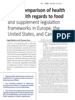 General Comparison of Health Claims with regards to Food and Supplement legislation in Europe, US, and Canada