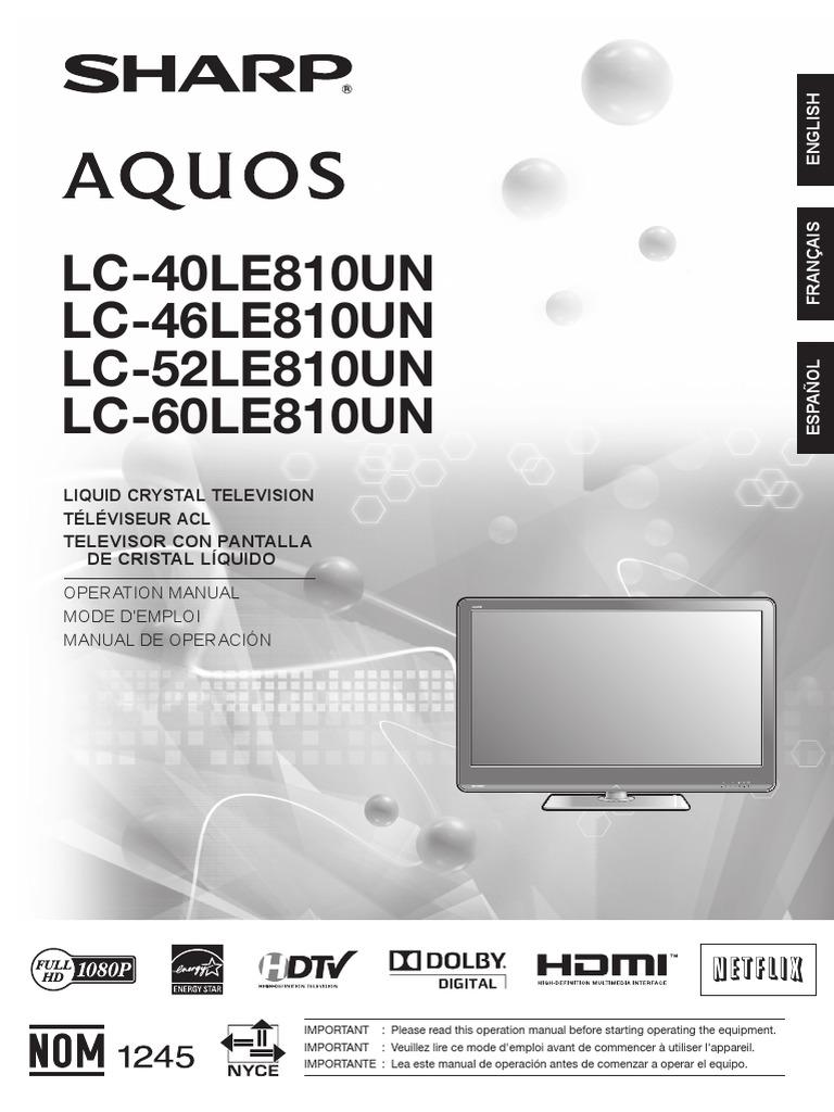 pantalla sharp lc 40le810un pdf electromagnetic interference radio rh es scribd com Acqua's Sharp Sharp AQUOS Quattron 60 LED HDTV Model Newest