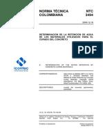 NTC3494,Determinacion de La Retenciondel Agua de Los Matew UtilizT Para El Curado DelH