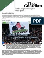 Goldblatt (2015) Reclaiming Football for All. Presenting the Manifesto for a Better Game