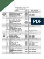 School Calendar of Activities 2017-2018