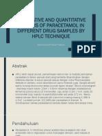 Qualitative and Quantitative Analysis of Paracetamol In
