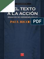 226086868 Ricoeur Paul Ensayos de Hermeneutica II Del Texto a La Accion