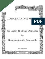 Brescianello G. - Concerto in Mi Minore Per Violino - Partitura