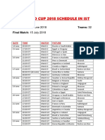 World Cup Timings - IsT