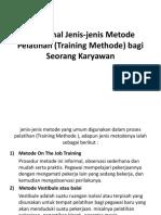 Mengenal Jenis-jenis Metode Pelatihan (Training Methode)