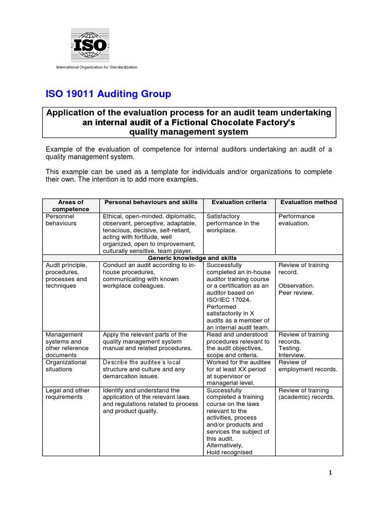Example Fictive Chocolate Factory | Audit | Internal Audit