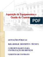 PALESTRA  AQUISIÇÃO DE EQUIPAMENTOS E GESTÃO DE CONTRATOS