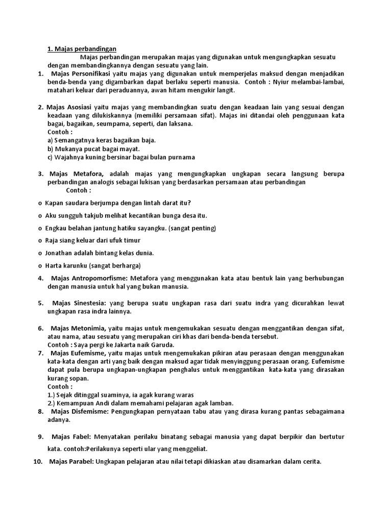 Contoh Majas Metafora Brainly - 1001 Contoh Majas