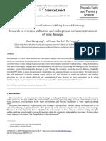 Investigación Sobre La Utilización de Los Recursos y El Tratamiento de La Circulación Subterránea Del Drenaje de La Mina