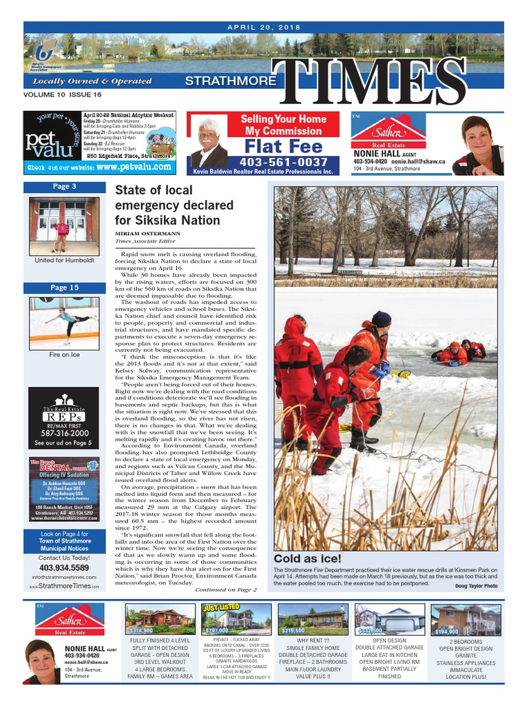 April 20, 2018 Strathmore Times | Taxicab | Flood