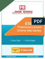 ESE 2019 Pre Online Test Series Schedule