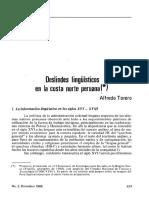 TORERO, ALFREDO_Deslindes Lingüísticos en La Costa Norte Peruana_REVISTA ANDINA_1986