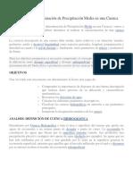 Métodos de Determinación de Precipitación Media en Una Cuenca