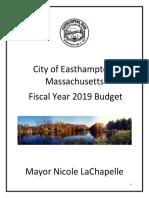 Easthampton MA Fiscal 2019 Municipal Budget