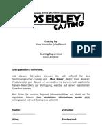 Casting - Anmeldeblatt