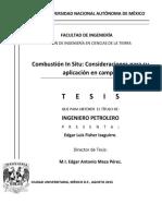 Combustión in Situ Consideraciones Para Su Aplicación en Campo (FEX0)