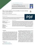 Efectos de Las Condiciones de Curado en La Permeabilidad Del Concreto Con Mezclas Minerales de Alto Volumen