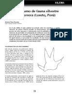 Caza y consumo de fauna silvestre en Jenaro Herrera, Loreto, Perú