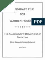 Alabama State Superintendent Candidate Warren (Craig) Pouncey - application packet