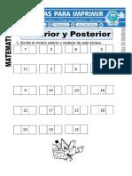 Ficha de Anterior y Posterior Para Primero de Primaria