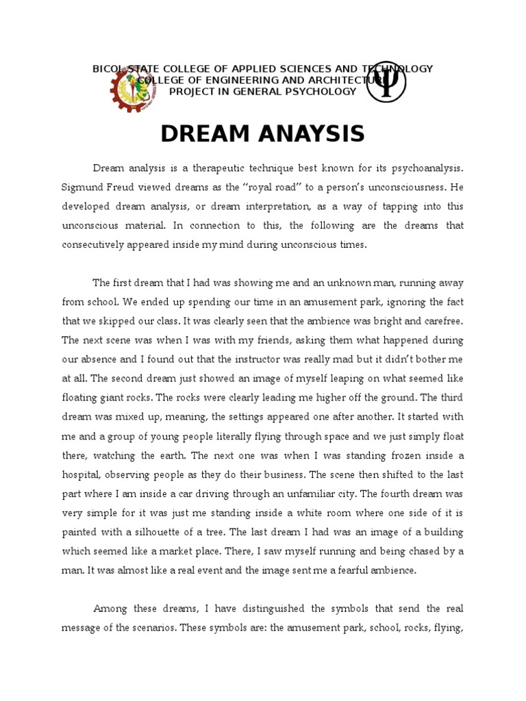 Example Of Dream Analysis Dream Interpretation Dream