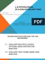 Educational & Psychological Measurement & Evaluation Sgdy 5063