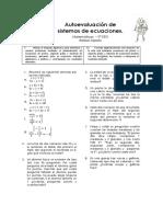 Autoevaluación de Sistemas de Ecuaciones 2º ESO