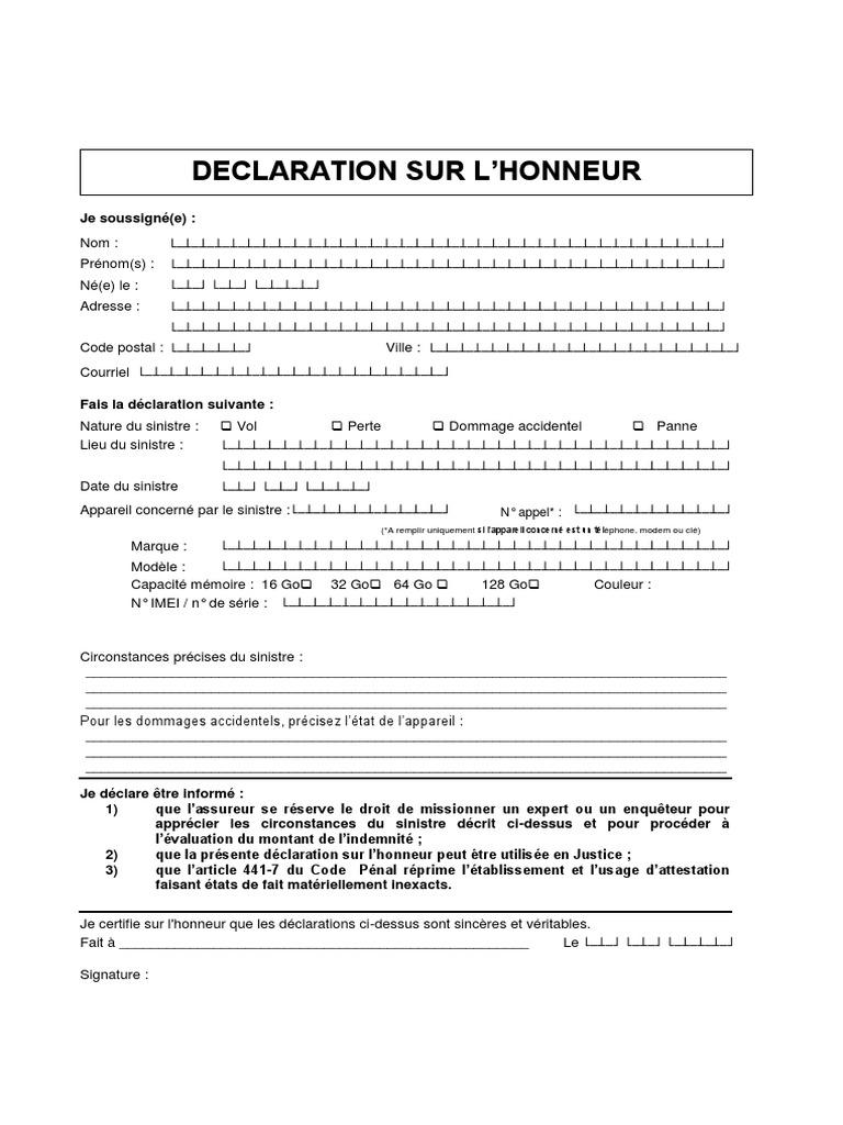 Attestation Sur L Honneur Affaires Informatique Et Technologies De L Information