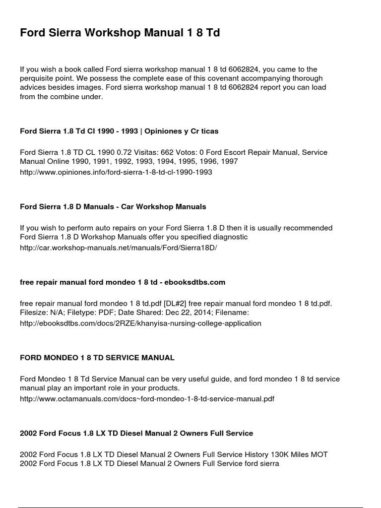 Ford Sierra Workshop Manual 1 8 Td Ford Motor Company Car