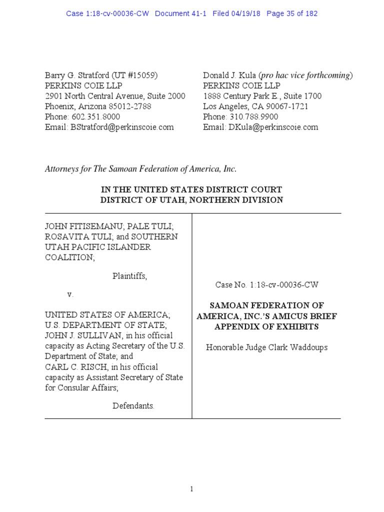 Fitisemanu, Samoan Federation Amicus Brief Appendix of Exhibits