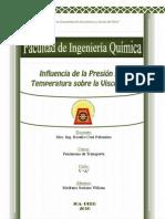 Influencia de la Presión y la Temperatura sobre la Viscosidad