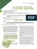 Posición de la Asociación Americana de Dietetica (ADA) sobre el vegetarianismo