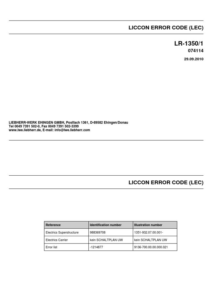 Liebherr Fault Codes