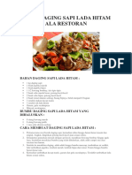 Resep Daging Sapi Lada Hitam Ala Restoran