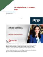 La Prueba Trasladada en El Proceso Penal Peruano