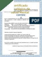 Ejemplo de Certificado de Salud Mental