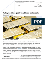 Turkey Repatriates Gold From US in Bid to Ditch Dollar — RT Business News