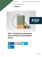 BW1, lámpara de suspensión de Kononenko ID para Beton Wood | Experimenta