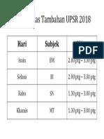 Contoh Jadual Kelas Tambahan 2018
