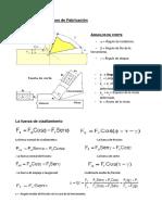 Fórmulas Para Procesos de Fabricación