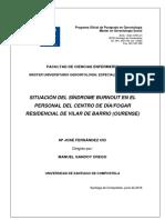 """Situación del síndrome """"burnout"""" el en personal de un centro de día/hogar residencial de la provincia de Ourense"""